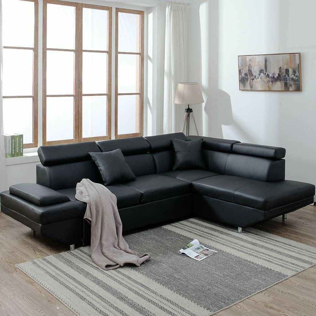 Contemporary Sectional Modern Sofa Bed - Black with Functional ...