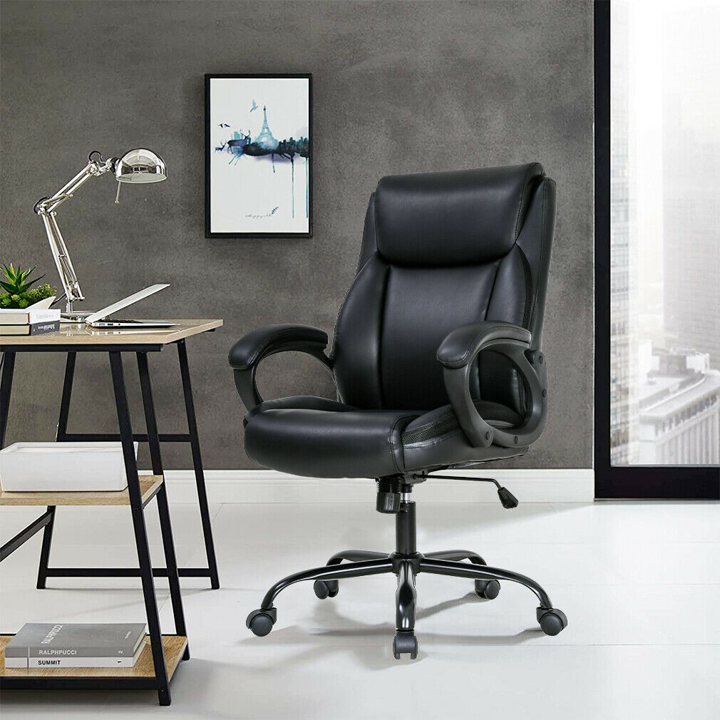 Office Chair Ergonomic Desk Chair PU Computer Chair with Lumbar Support Arms Business & Industrial