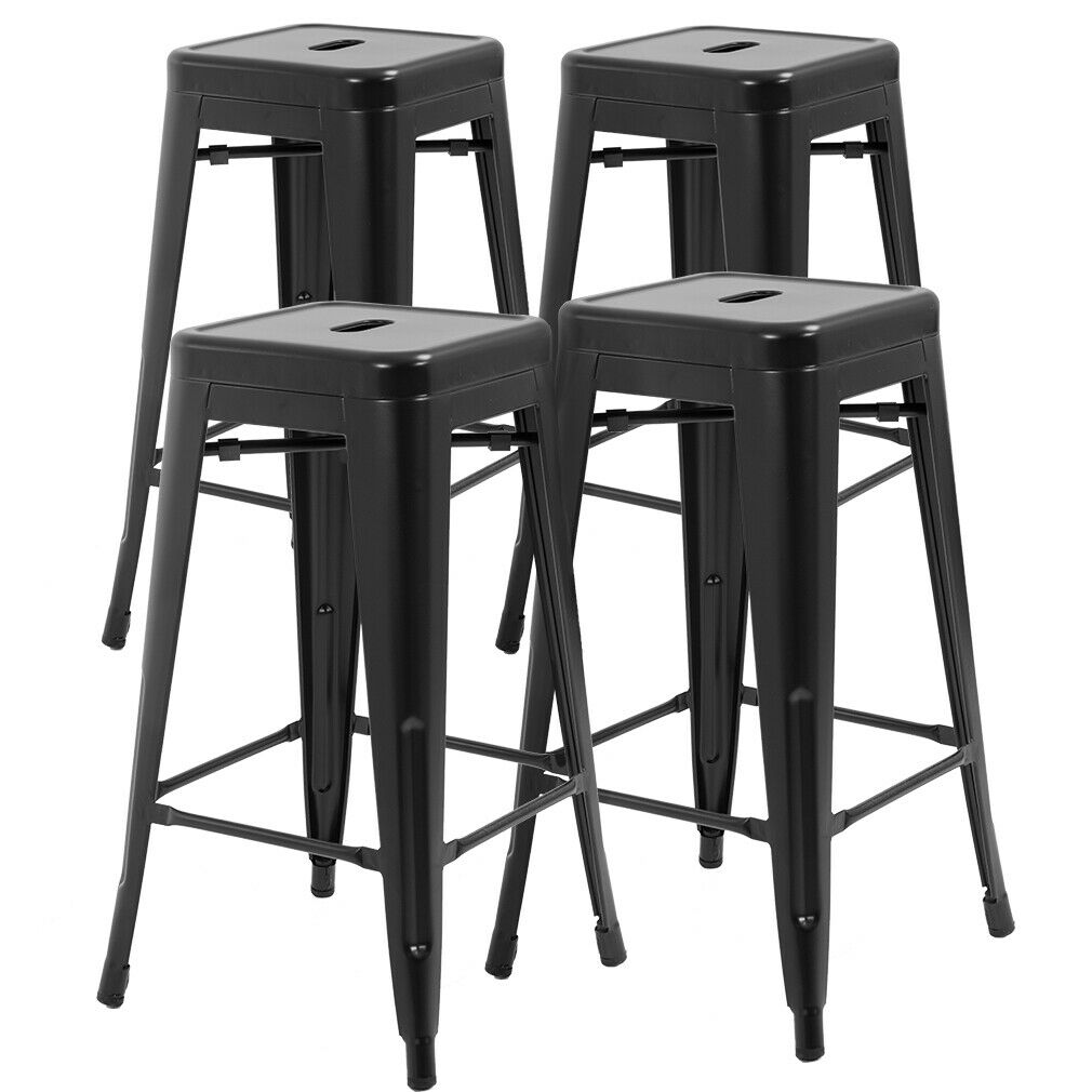 New Counter Height Bar Stools Set of 4 Stackable Barstools Patio Furniture Benches, Stools & Bar Stools