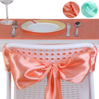 Satin Table Runners + Chairs Sashes Napkins Tableware Wedding Banquet Best (Best Wedding Table Decorations)