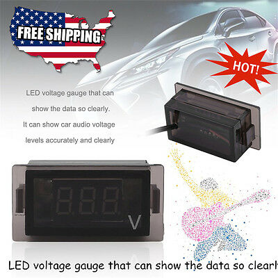 New 3 Digit Blue Led 12v Rectangle Digital Voltmeter Car Marine Rv Audio Suv Sk