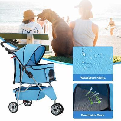 New Blue Pet Stroller Cat Dog Cage 3 Wheels Stroller Travel Folding Carrier T13 Dog Supplies