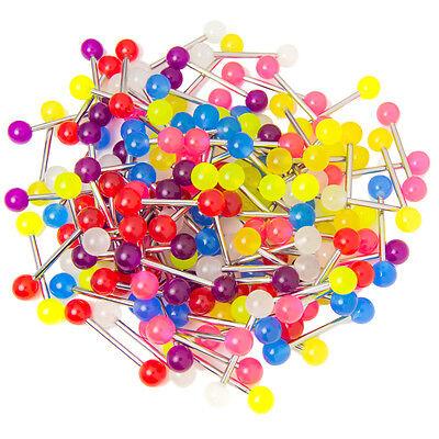 14ga Tongue Barbell Nipple 100 Mixed Glow in the Dark - Wholesale - Glow In The Dark Jewelry Wholesale