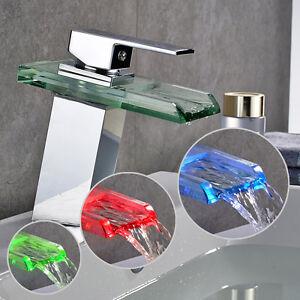 LED RGB Wasserfall Einhandmischer Wasserhahn  Waschbecken Waschtisch Armatur Bad