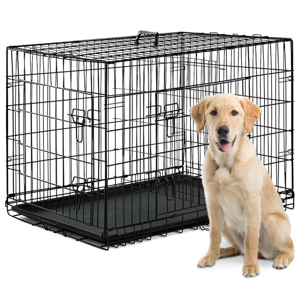 "48""/42""/36""/30""/24"" Pet Kennel Cat Dog Folding Crate Wire Me"