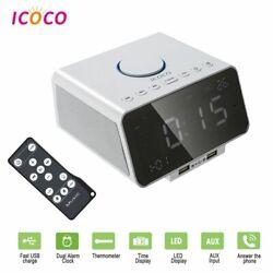 Alarm Clock Radio with Audio Bluetooth Speaker FM Radio 5'' Digital LED Time USA