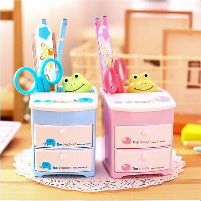 Office Cute Cartoon Desk Organizer Desktop Pen Pencil Holder Storage Two Drawers