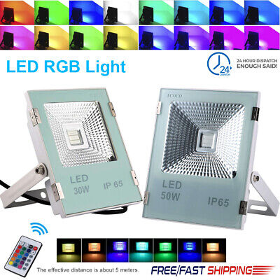 30W 50W RGB LED Flood Light Outdoor Garden Color Changing La