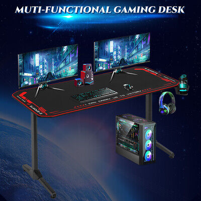 Computer Desk Gaming Desk 55 Inch Home Office Desk with Headphone Hook Cup Furniture
