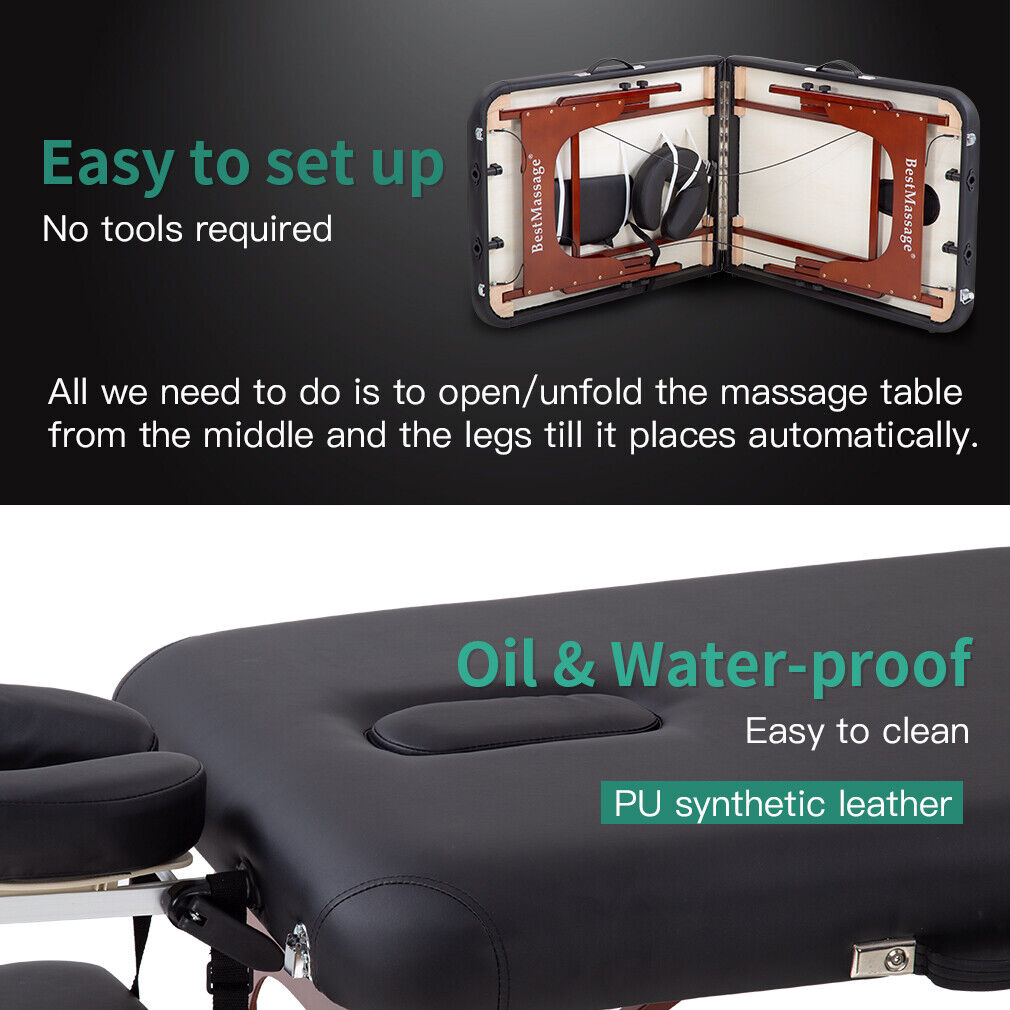 Portable Massage Table Height Adjustable Reiki Table 2 Fold  73″ L 28″ W Home & Garden