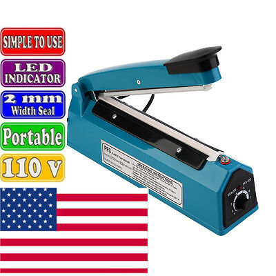 8 Hand Impulse Sealer With Heat Seal Plastic Poly Manual Bag Closer Ms