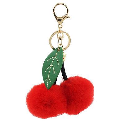 Red/Hot Pink Faux Fur Cherry Pom pom Ball Keychain KeyRing Bag Charm with Leaf
