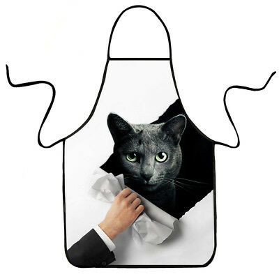 Novelty 3d Cat Printed Men Women Apron Kitchen Baking Chefs Bbq Apron Waterproof