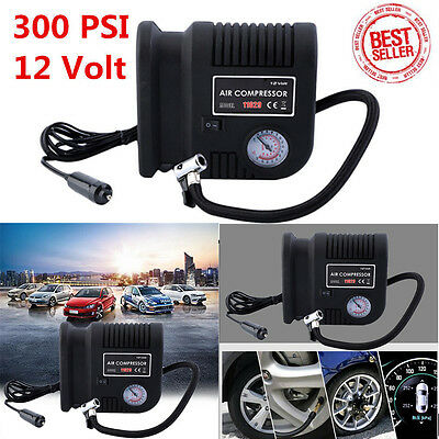 Air Compressor Portable Pump 300 Psi Auto Car Suv Tire 12v Volt 3 Adapters Us K