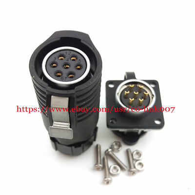Lp20 7pins Waterproof Connectorhigh Voltage Industrial Power Bulkhead Connector