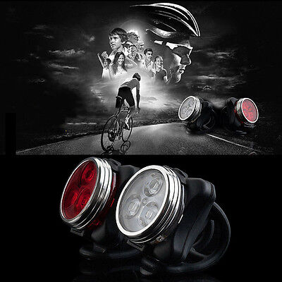 Bicycle Bike 3 LED 4 Modes Head Front Rear Tail Light Lamp USB Rechargeable J1