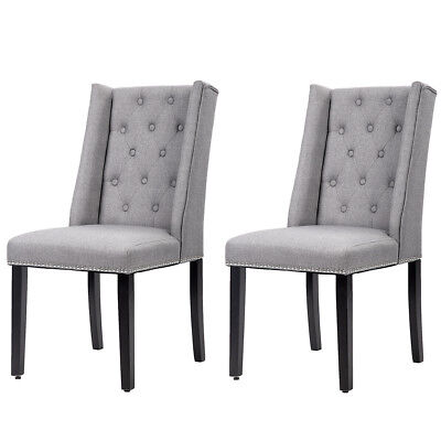 Set of 2 Grey Elegant Dining Side Chairs Button Tufted Fabric w/ Nailhead 8FH
