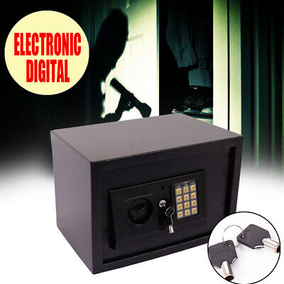 Strong Digital Safe Box Electronic Lock Home Office Security Cash Gun With Key