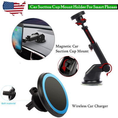 - Magnetic Car Suction Cup Mount Holder / Wireless Car Charger For Smart Phones