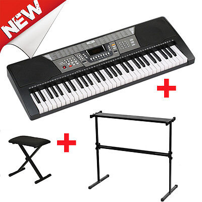 Electronic Piano Keyboard 61 Key Music Digital Keyboard + X Stand + Piano Bench