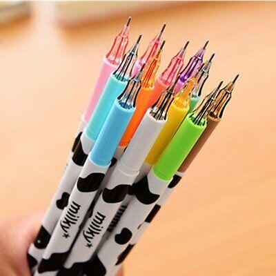 12color Cute Cartoon Milk Cow 0.38mm Fineliner Pens Srker Pen Gel Ink Pen Set V