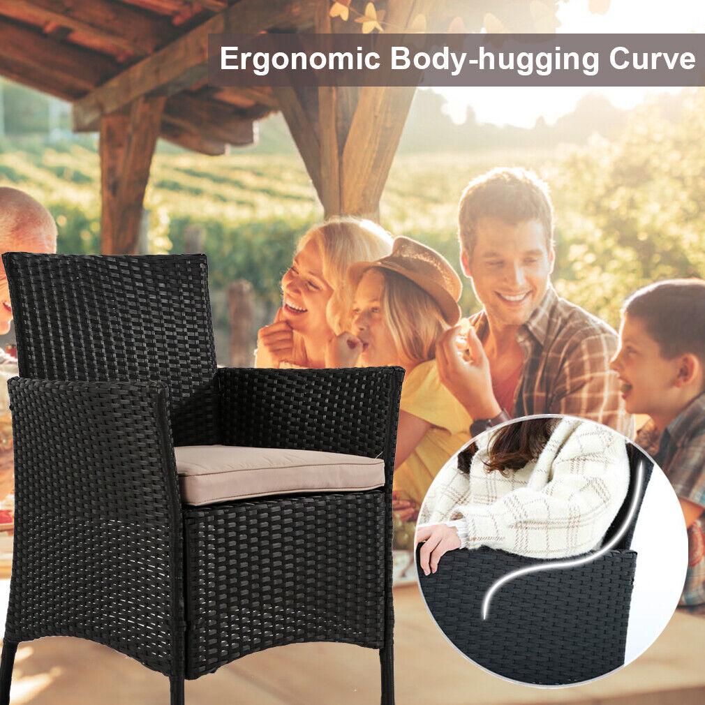 Patio Furniture Set 4 Pcs Outdoor Wicker Sofas Rattan Chair Wicker Conversation Home & Garden