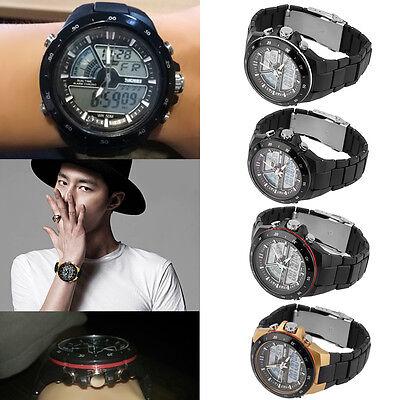 Premium Mens Dual Time Zones Analog Digital Waterproof Luminous Wrist Watch