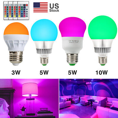 3W 5W 10W E27 Multi Color Change RGB LED Light Bulb Lamp With Remote Controller