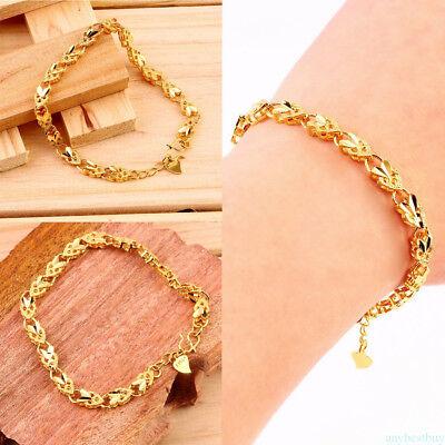 Elegant Plating 24K Gold Angel Heart Bangle Bracelet Jewelry for Women Lady