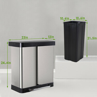 Kitchen Trash Can 16 Gallon/ 60L Large Stainless Steel Step Garbage Can General Household Supplies