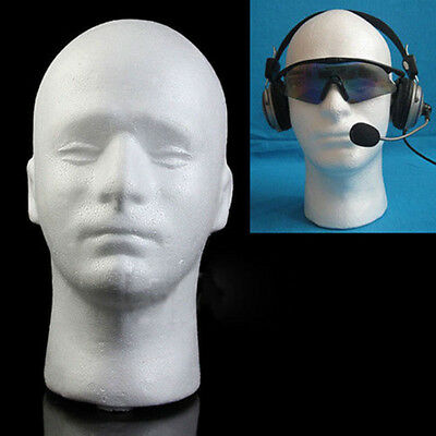 1 Pc Mannequin Head Male Styrofoam Foam Manikin Stand Hat Headphones White