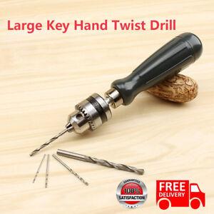 Mini Micro Hand Drill Chuck with 5pcs Twist Drill Bit Jewelry Craft DIY Tool UK