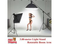 3.88-meter Heavy Duty Photo Studio 2 in1 Rotatable Boom Arm Light Stand Kit