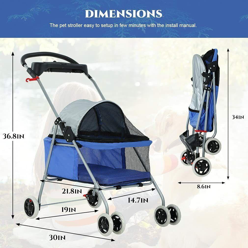 Pet Stroller 4 Wheels Posh Folding Waterproof Portable Travel Cat Dog Stroller Dog Supplies