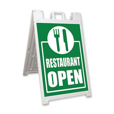 Restaurant Open Signicade A-frame Sign Sidewalk Sandwich Pavement Street Sign