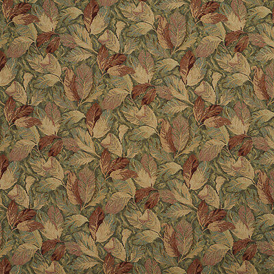 - F935 Burgundy And Green Floral Leaves Tapestry Upholstery Fabric By The Yard