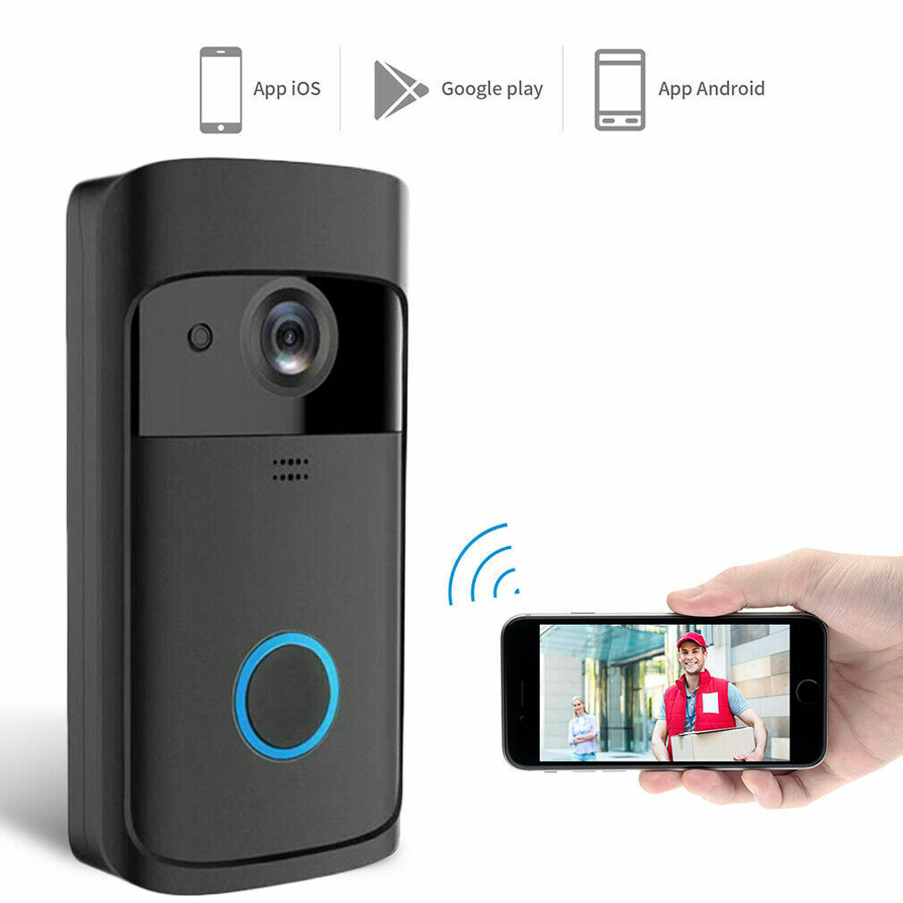WiFi HD Video Smartphone Door Bell Camera Intercom Security Night Vision Black Building & Hardware