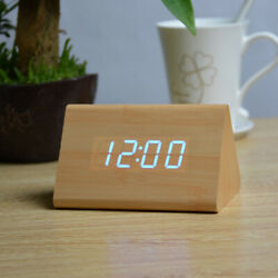 Modern Wooden Wood Digital LED Alarm Clock  Timer Thermometer Best Price Gift SS