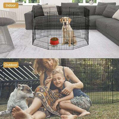 24 Tall Dog Playpen Crate Fence Pet Kennel Play Pen Exercise Cage -8 Panel Black Dog Supplies