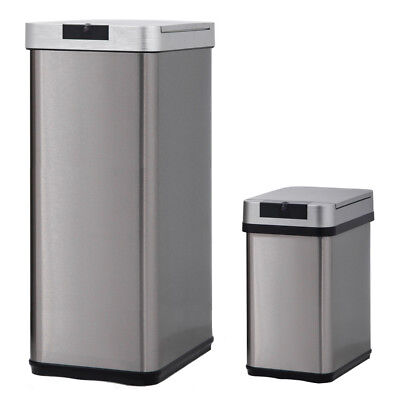 Trash Can Office Kitchen Bathroom Bedroom Stainless Steel 13 Gallon & 2.4 Gallon