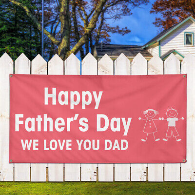 Vinyl Banner Sign We Love You Dad Happy Fathers Day Marketing Advertising Red