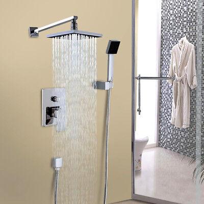 Wall Mount Rain Shower Faucet Set Hand Shower Sprayer Mixer Tap Chrome Finish (Shower Mixer Finish)