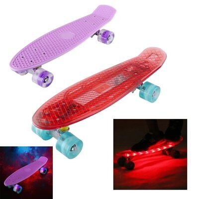 "Complete 22"" Cruiser Skateboard Bendable Deck PU Casters Kids Youths Beginners"