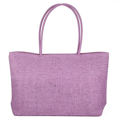 Ly Straw Weaving Summer Beach Tote Zippered Bag Purple Travel Basket