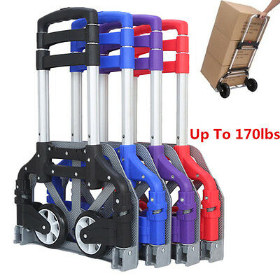 Folding Truck Dolly - Cart Folding Hand Truck Dolly Push Collapsible Trolley Luggage Aluminium 170 LBS