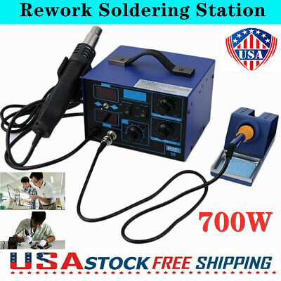 2in1 Digital Soldering Station Smd Rework Hot Air Gun Welder Iron 700w 862d Usa