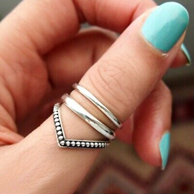 Chevron Sterling Silver Ring for Women Boho Thumb Chunky Adjustable Size 6 7 8 9