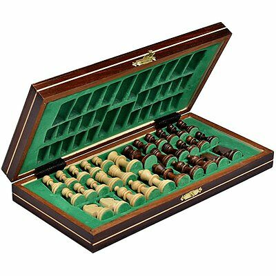 Wooden Travel Chess Set Magnetic Chessmen Folding Board Portable Game Chessboard