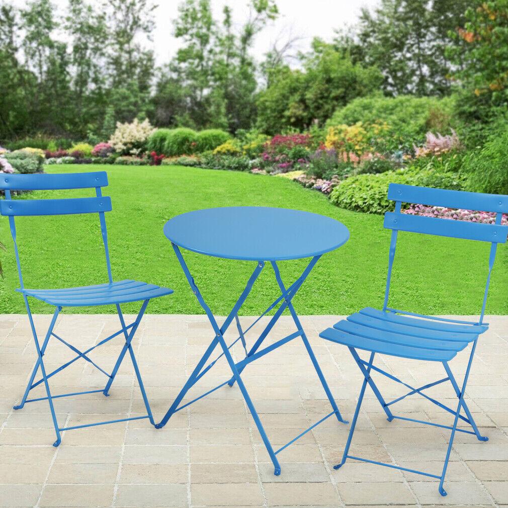 Bistro Table Set Small Patio Set Steel Patio Bistro Set Folding Outdoor Home & Garden
