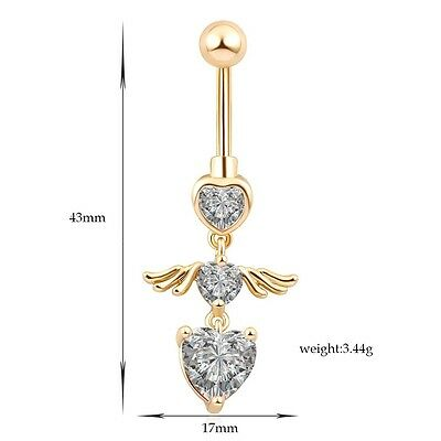 Angel Dangle Belly Ring Button Clear Bar Navel Body Piercing (Angel Dangle Belly Ring)